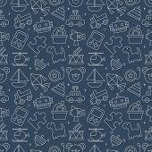 pic of drum-set  - Toy Line Icon Pattern Set - JPG