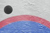 picture of hockey arena  - The puck lying on a hockey rink - JPG