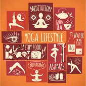 picture of pranayama  - Vector illustration of yoga lifestyle - JPG