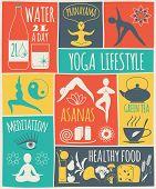 image of pranayama  - Vector illustration of yoga lifestyle - JPG