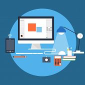 picture of workstation  - Flat style vector illustration of workstation with different items like - JPG