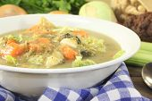 picture of stew  - hot hearty cabbage stew with colorful vegetables