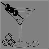 picture of olive shaped  - A Martini with olives and pieces of ice - JPG