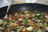 picture of legume  - organic and healthy vegetables and legumes chopped saut - JPG