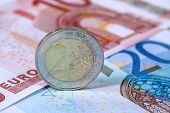 stock photo of money prize  - Money euro coins and banknotes - JPG
