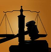 picture of court hammer  - judges court gavel and scales of justice silhouette - JPG