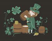 stock photo of leprechaun  - Leprechaun drinks beer from a wooden barrel - JPG