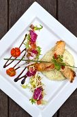pic of chinese menu  - Fried shrimp Chinese vermicelli guacamole and salad on a plate - JPG