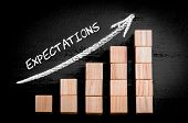 stock photo of expectations  - Word Expectations on ascending arrow above bar graph of Wooden small cubes isolated on black background - JPG