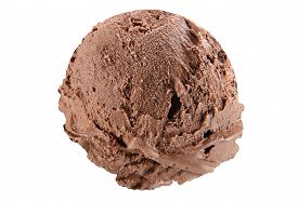 stock photo of ijs  - Scoop of chocolate ice cream on white background with clipping path - JPG