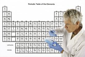picture of periodic table elements  - Scientist explaining a complex theory or analysis in front of the periodic table of elements - JPG