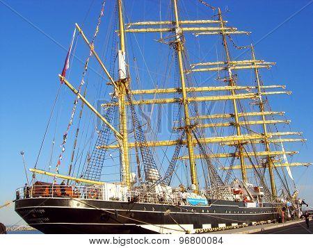 Sail ship Kruzenshtern in port of Sochi.