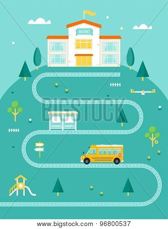 School Bus Taking Kids to School. Rural Landscape with Road, Trees and Bus Stop.