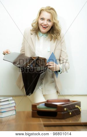 Laughing Business Woman With Briefcase