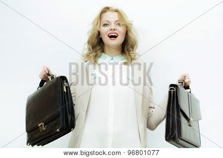 Emotional Business Woman With Briefcases