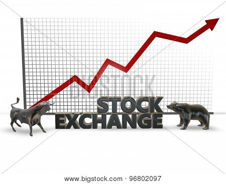 Stock Market, 3D Illustration With Bull And Bear Figures