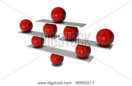 Balance With Red Balls, Concept 3D Illustration