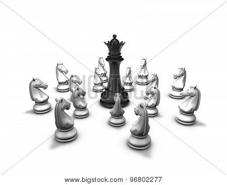 Protection, Conflict Concept With Chess Pieces And Black Queen Figure