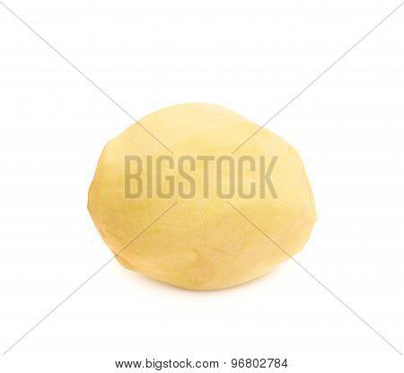 Peeled clean potato isolated