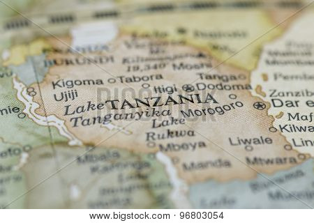 Macro globe map detail of Tanzania