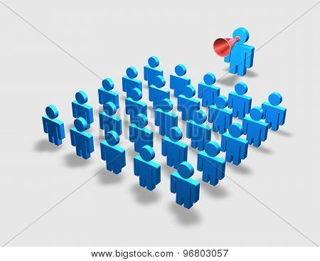 Communication, Course, Instruction, Training, Schooling Concept With Blue People