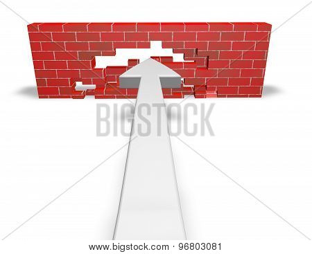 Overcoming Obstacles Concept With Wall