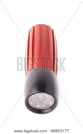 Red pocket flashlight isolated
