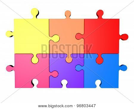 Colorful Puzzles Isolated On White