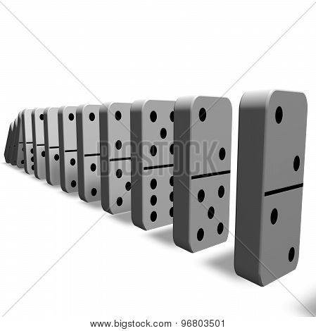 Domino Game, Isolated Pawns 3D Illustration