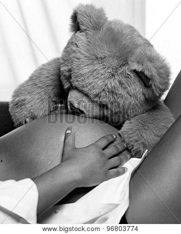 Teddy Bear Hugs Pregnant Belly
