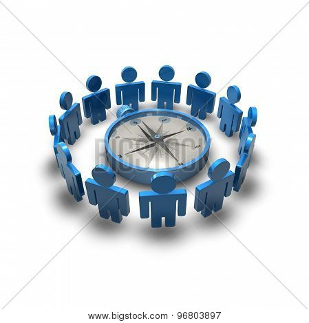 Business Goals Abstract Illustration With Blue Team