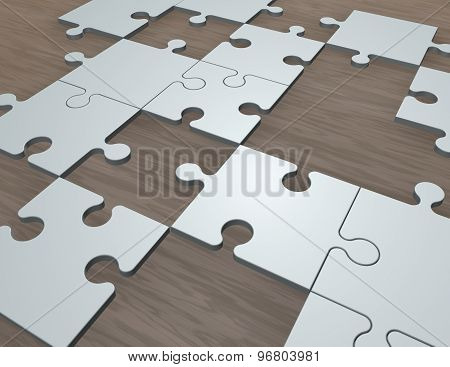 Jigsaw Puzzles On The Table 3D Illustration