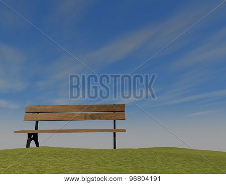 Simple Background With Bench, Sky And Empty Copy Space