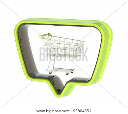 Shopping cart in a text bubble isolated