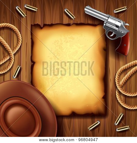 Wild West Poster With Cowboy Stuff Background