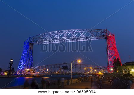 Red White and Blue Duluth Lift Bridge