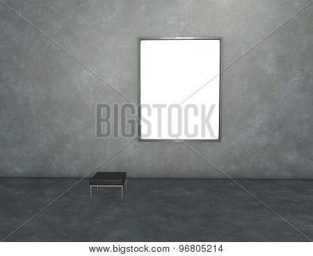 Empty Room With Chair And Picture Frame, Copy Space For Any Message