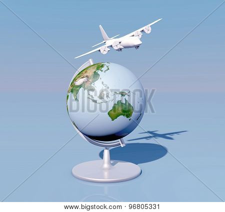 Flying, Air Plane Traveling Abstract Concept With Airplane