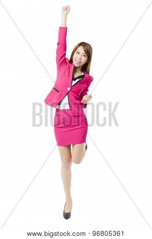 happy young business woman with arms up