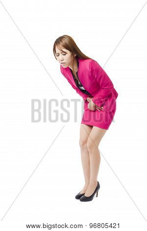 Business woman with stomach issues isolated on white