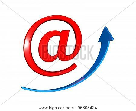 On Line Marketing, Internet And Mobile Saleing With E-mail Symbol