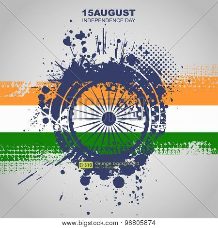 Creative Illustration for Indian Independence Day with tricolors and ashoka wheel.  Abstract dirt backgrounds texture. Grunge banner with an inky dribble strip with copy space.