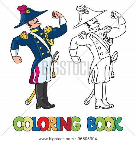 Strong brave general or officer. Coloring book
