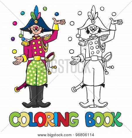 Funy general-juggler. Coloring book