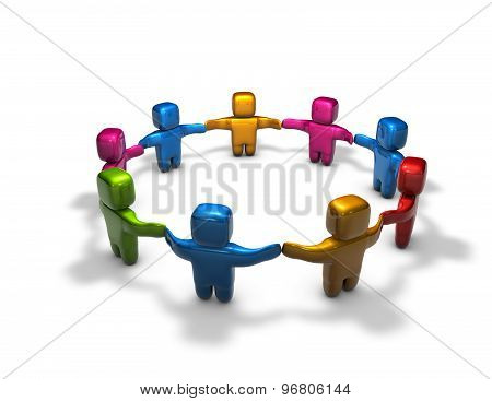 Society, Diversity, Togetherness with 3d people holding hands