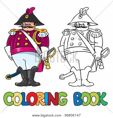 Fat general or officer. Coloring book