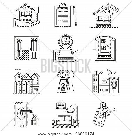 Rent real estate line vector icons