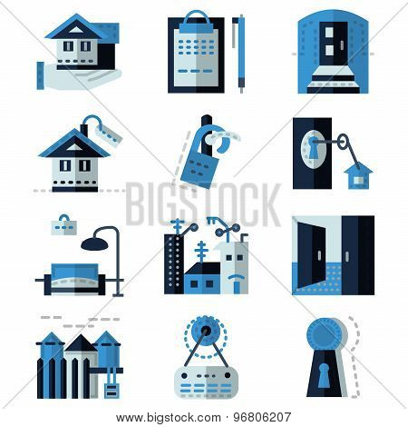 Rent real estate blue flat vector icons