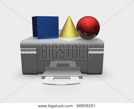 3D Printer Abstract Illustration With 3D Shapes