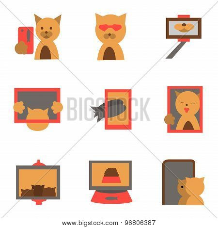 Selfie fashion flat vector icons